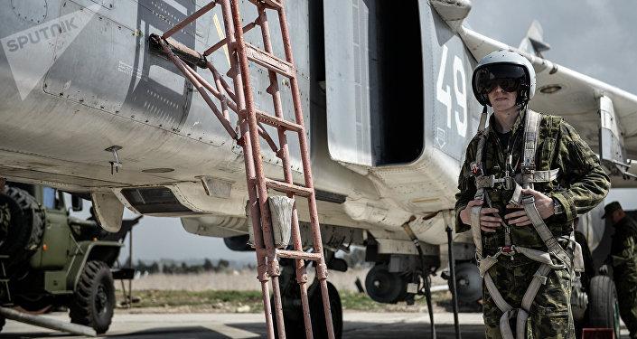 Piloto ruso en la base aérea de Hmeymim