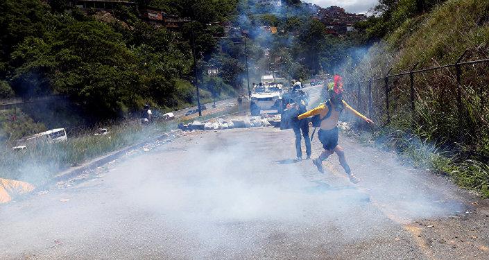 Protesta de la oposición en Caracas, Venezuela