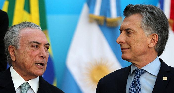 Mauricio Macri, presidente de Argentina, y Michel Temer, presidente de Brasil
