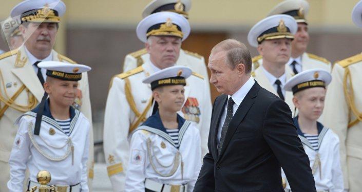 Vladímir Putin, el presidente de Rusia, durante las celebraciones del día de la Armada rusa en San Petersburgo.