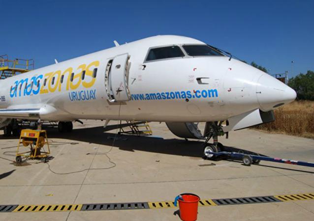 Un avión de la compañía aérea Amaszonas Uruguay