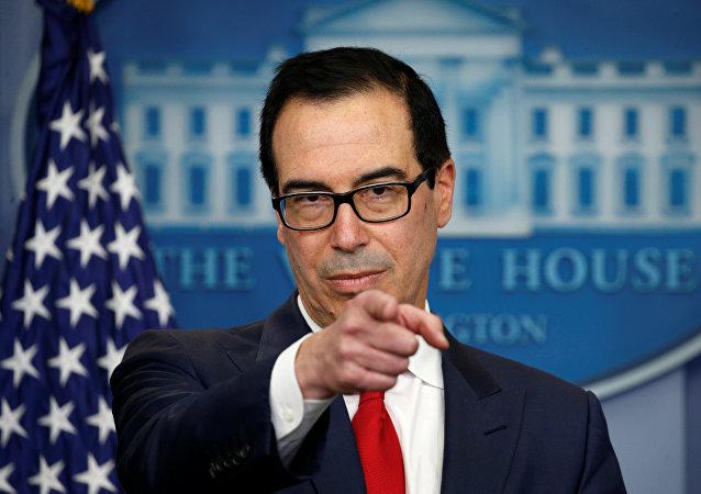 El Secretario del Tesoro de los Estados Unidos, Steve Mnuchin, anuncia las medidas tomadas para maximizar la presión sobre Corea del Norte para que abandone sus programas de armas