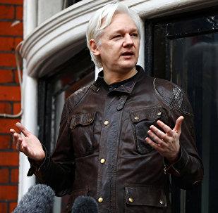 Julian Assange, en la embajada de Ecuador en Londres (archivo)