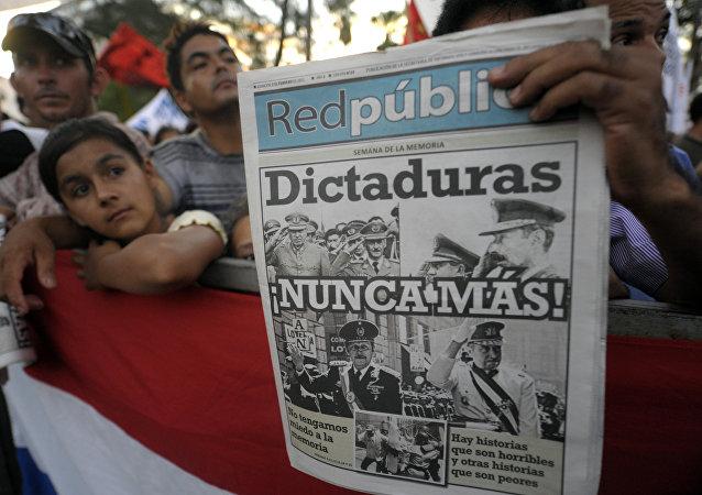 Una demostración en conmemoración de la caída de la dictadura de Alfredo Stroessner en Asunción, Paraguay (archivo)