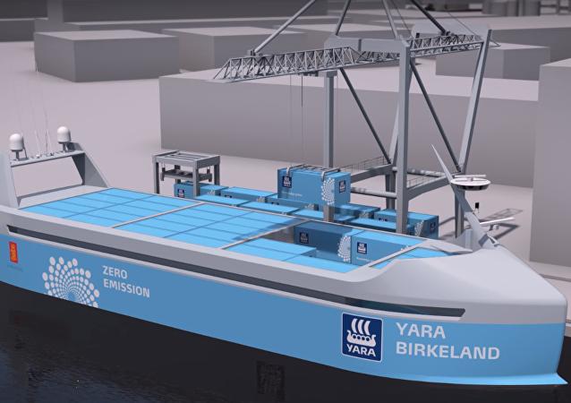 Concepto de la nave fertilizadora autónoma y de cero emisiones Yara Birkeland