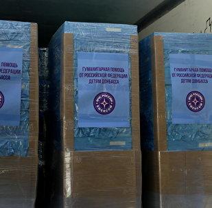 Las cajas con la ayuda humanitaria rusa para Donbás