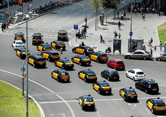 Protestas contra Uber y Cabify en Barcelona