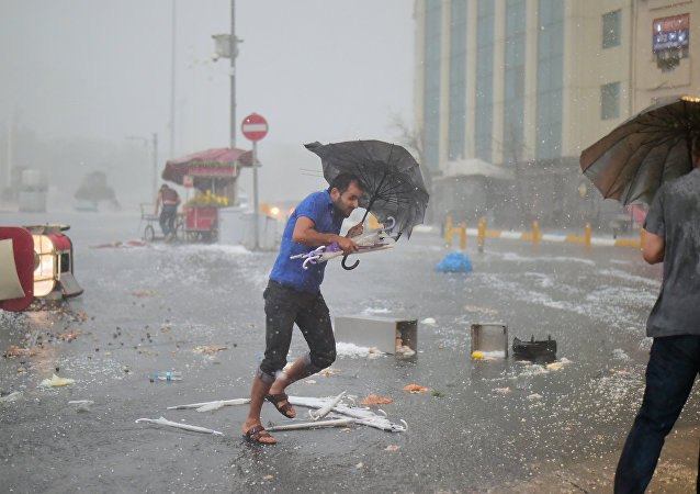 Un fuerte huracán en Estambul, Turquía