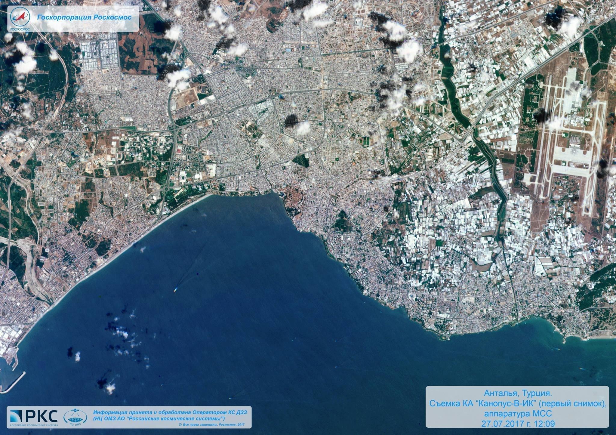 Antalya, en Turquía, vista el 27 de julio de 2017 por la cámara multispectral del satélite ruso Kanopus-V-IK