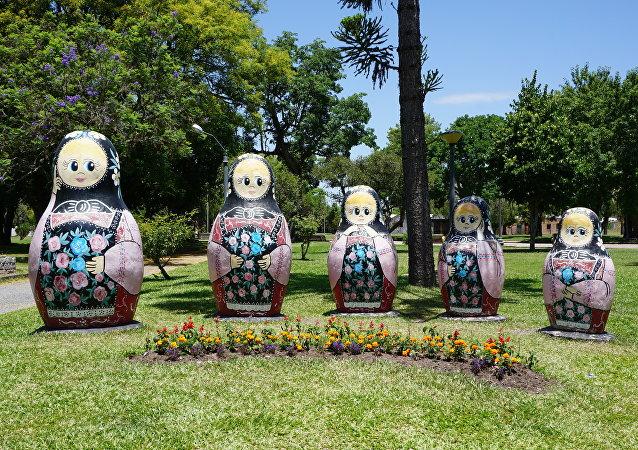 La plaza principal de San Javier, Uruguay