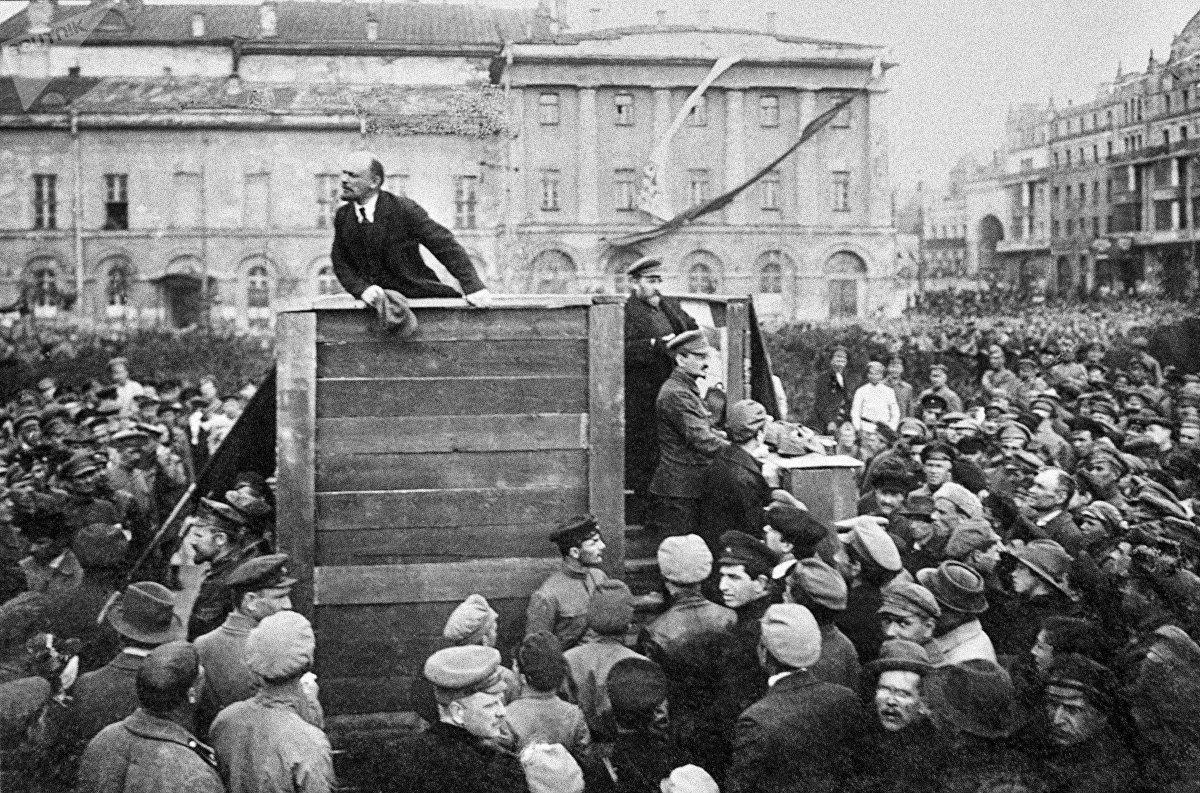 Vladímir Lenin, durante un discurso en 1920
