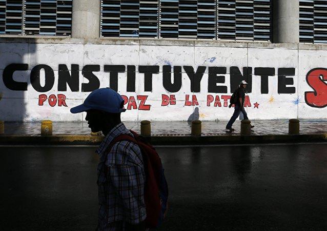 Un graffiti en Caracas en apoyo a las elecciones de la Asamblea Constituyente