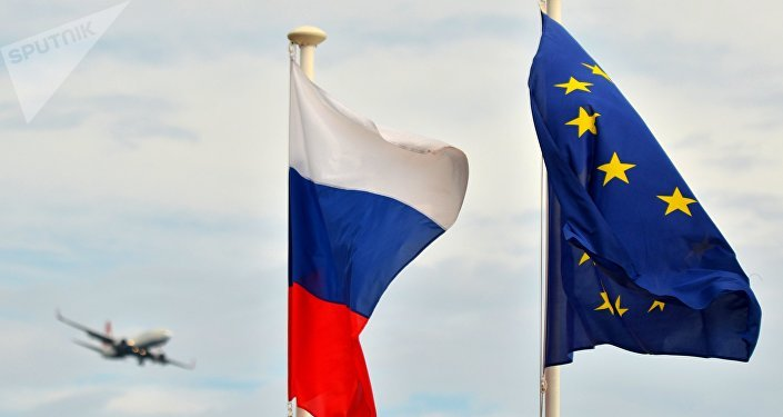Russian flag and EU flag.