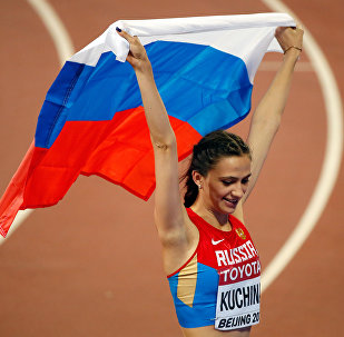 María Lasitskene, atleta rusa, en Pekín