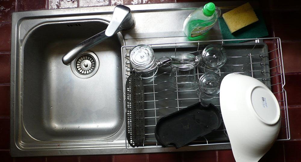 Un fregadero de cocina