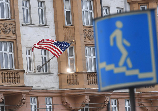 El edificio de la Embajada de EEUU en Moscú, Rusia (archivo)