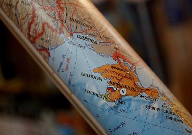 Mapa político mostrando a Crimea como parte de la Federación de Rusia