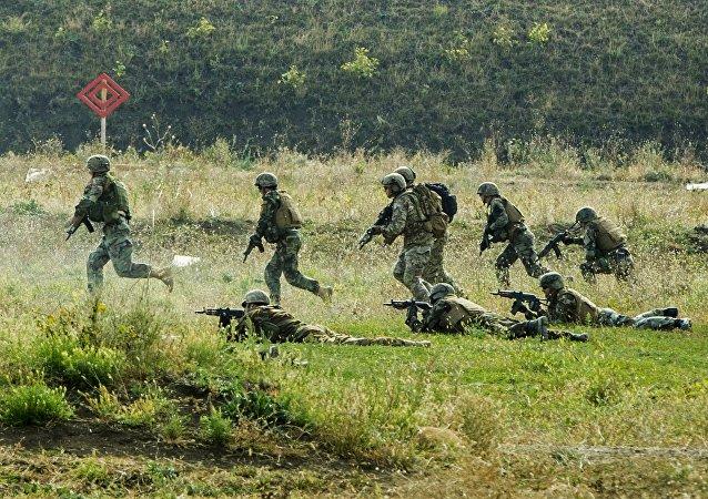 Militares del Ejército Nacional de Moldavia durante los ejercicios militares en Bulboaca (archivo)