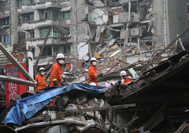 Consecuencias de un terremoto en China (archivo)