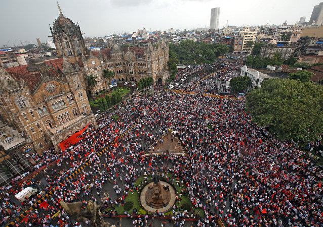 La protesta de los marathas en Mumbai