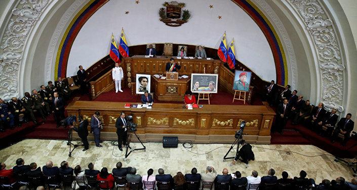 Nicolás Maduro, presidente de Venezuela, durante su asistencia a una sesión de la Asamblea Nacional Constituyente