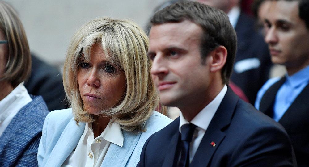 El presidente de Francia, Emmanuel Macron, y su esposa, Brigitte Marcon