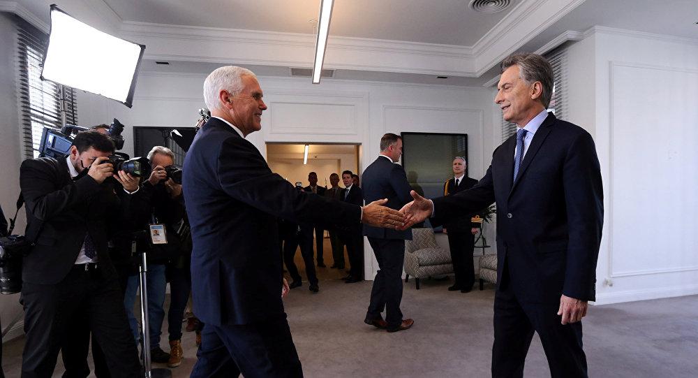 Presidente de Argentina, Mauricio Macri, y vicepresidente de EEUU, Mike Pence