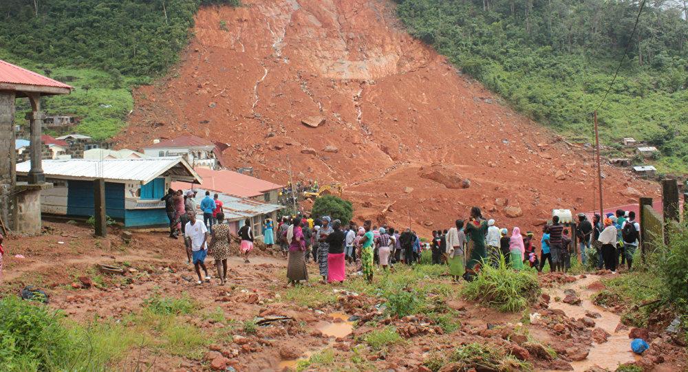 Consecuencias de un deslave en Sierra Leona