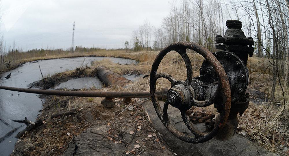Una válvula de un antiguo oleoducto