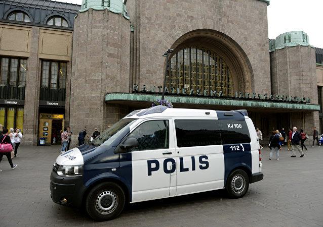 Policía finlandesa en Helsinki