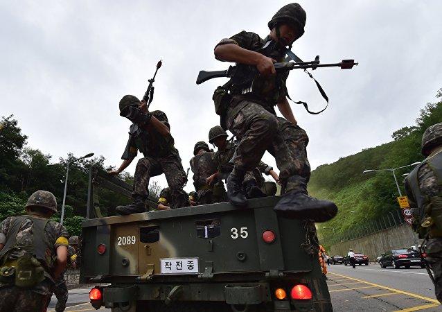 Soldados surcoreanos durante el Ulchi Freedom Guardian