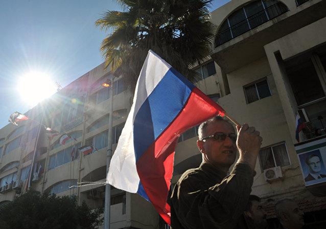 Bandera rusa en Siria (archivo)