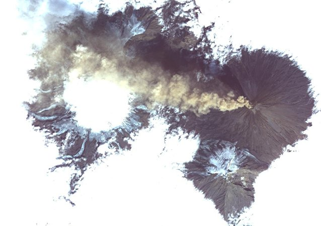 La imagen tomada desde el espacio del volcán Shiveluch
