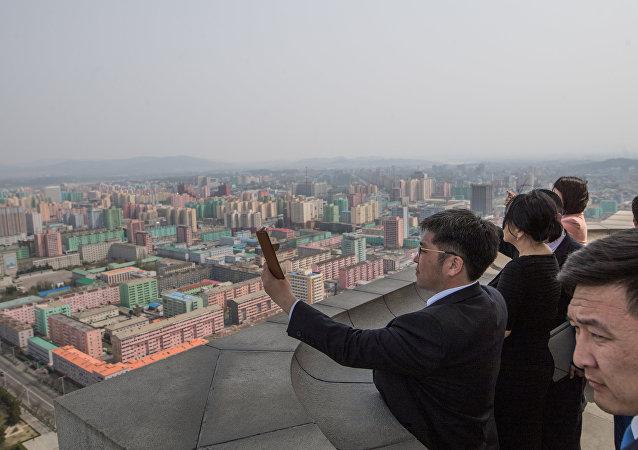 Los turistas en Pyongyang, Corea del Norte