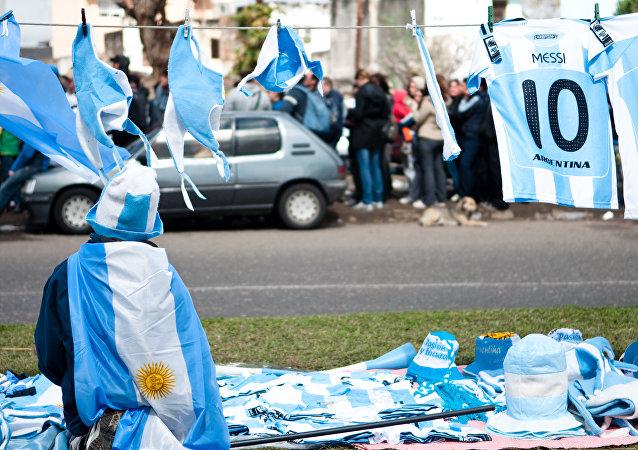 Previa a un partido de fútbol de Argentina
