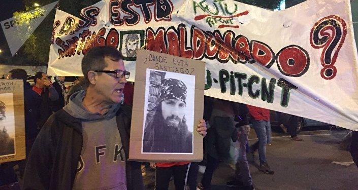 Manifestantes reclaman conocer el paradero del activista desaparecido Santiago Maldonado (archivo)