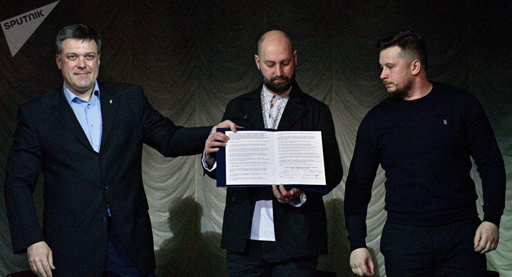 La firma de un manifiesto en Kiev por los nacionalistas