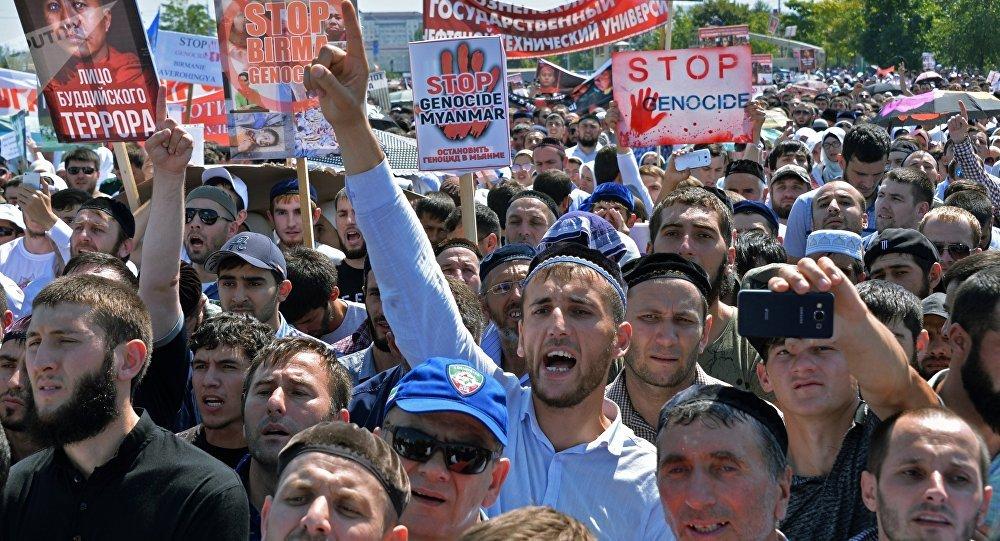 Manifestantes en el centro de Grozni