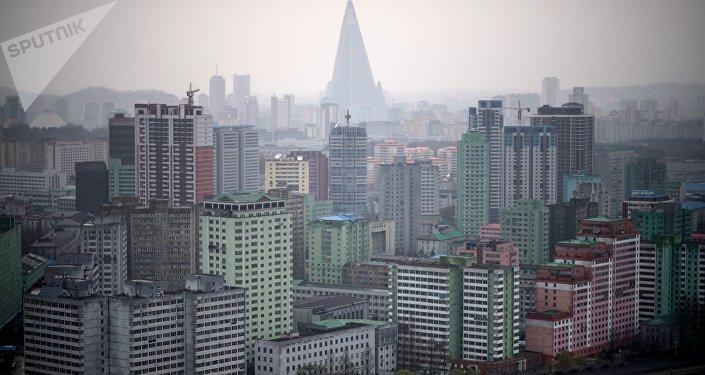 La vista de Pyongyang, capital de Corea del Norte