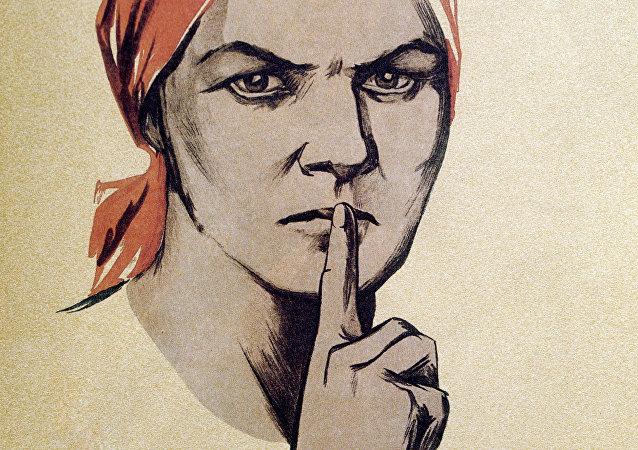 Imagen soviética de una mujer pidiendo que guarden silencio