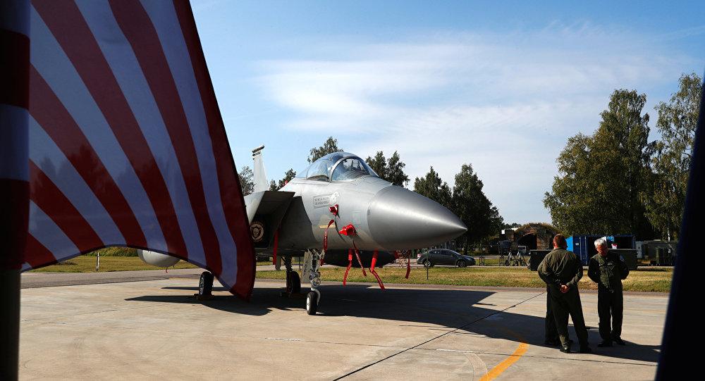 Un caza F-15C estadounidense en Siauliai, Lituania