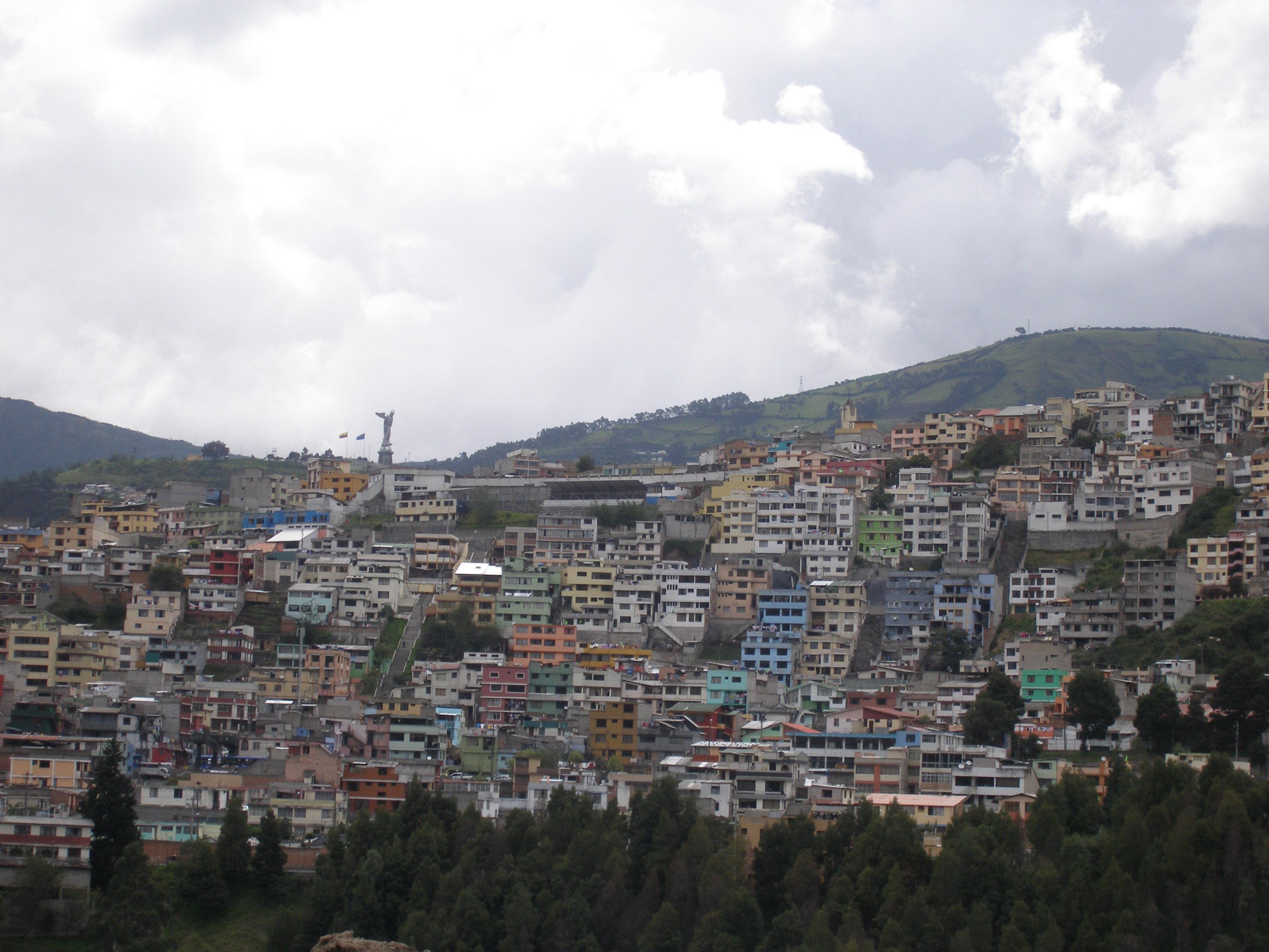 La vista actual de Quito, Ecuador