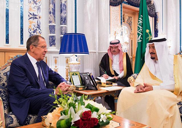 Serguéi Lavrov, el ministro de Asuntos Exteriores de Rusia durante su visita a Arabia Saudí