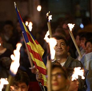 Demostración por la independencia en Cataluña