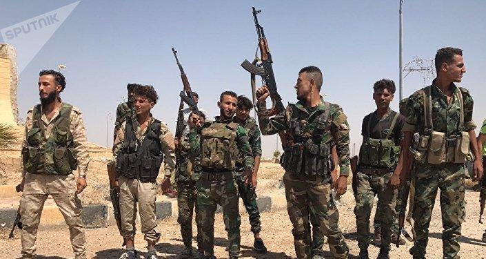Soldados sirios tras la ruptura del asedio de Deir Ezzor