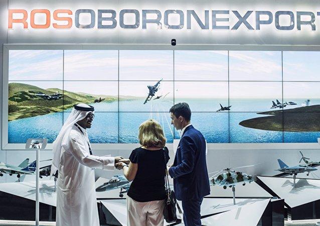 Stand de Rosoboronexport en el salón aeronáutico Dubai Airshow 2015