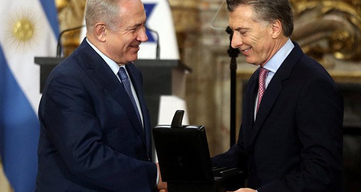 Primer ministro de Israel, Benjamín Netanyahu, y presidente de Argentina, Mauricio Macri