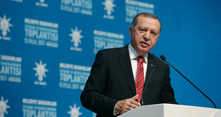 El presidente de Turquía Recep Tayyip Erdogan en el Palacio Presidencial