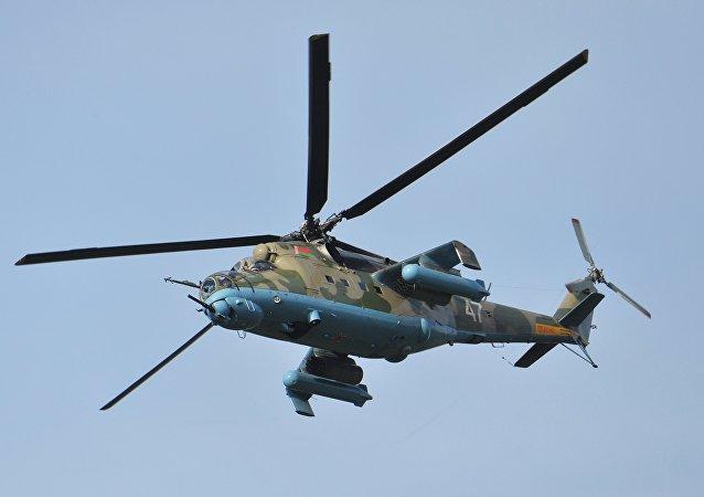 Helicóptero Mi-24 del Ejército de Bielorrusia