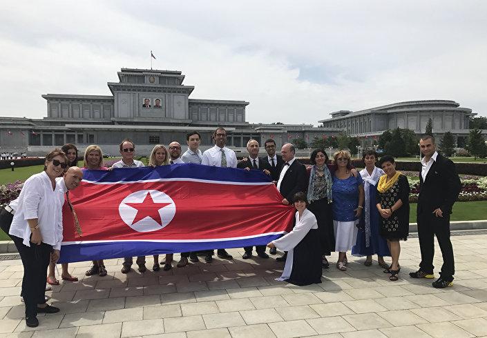 El grupo de turistas serbios en Corea del Norte